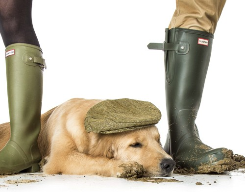 photography of couple wearing wellies with pet dog